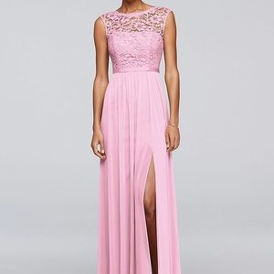 💍David's Bridal Long Lace Dress - Tickled Pink